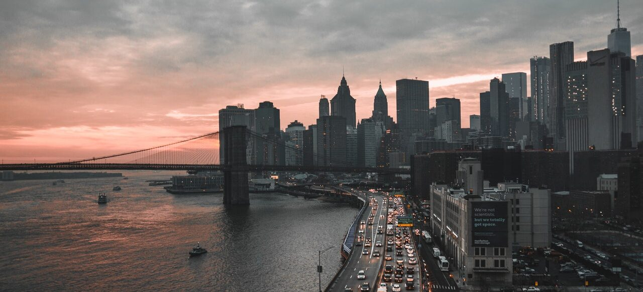 A landscape of New York.