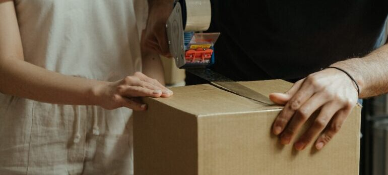 A couple packing boxes.