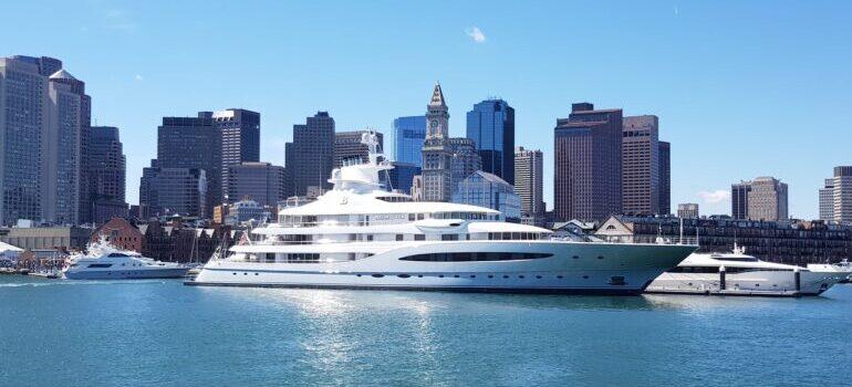 A cruise ship seen in the Boston harbor.