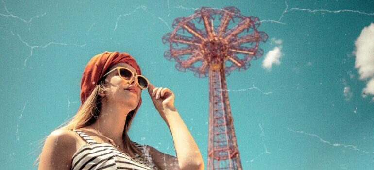A girl in Coney Island park