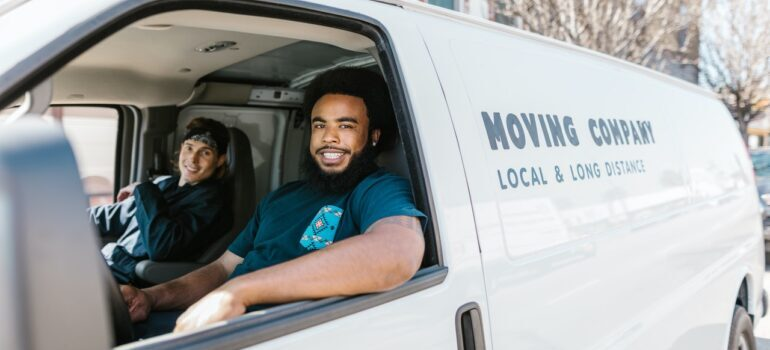 Flushing NY movers in a white van