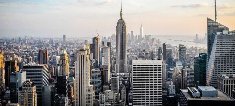 An aerial view of Manhattan.