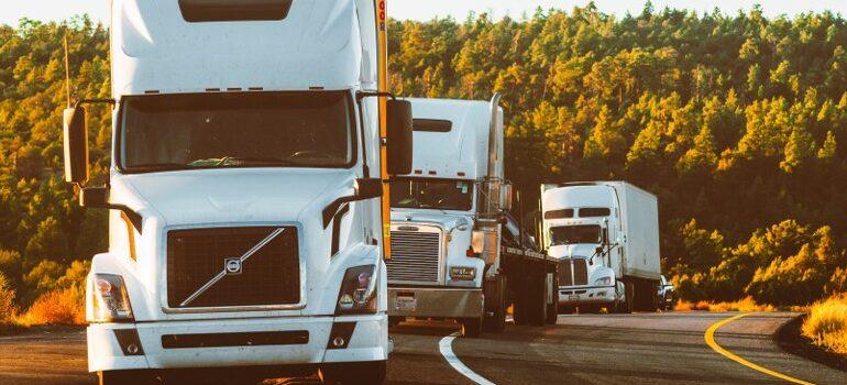moving company's fleet of trucks