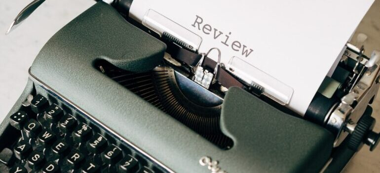 Review typed on a typewriter