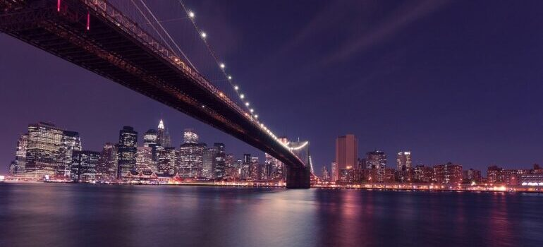 A view of Brooklyn at night.