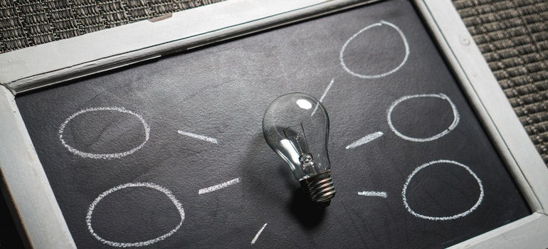 a lightbulb on a black boars
