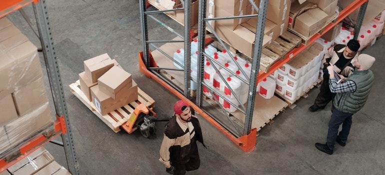 People in storage space