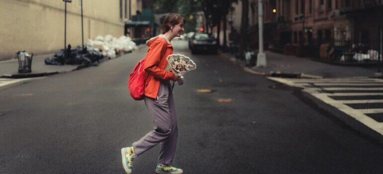 a woman walking on the street
